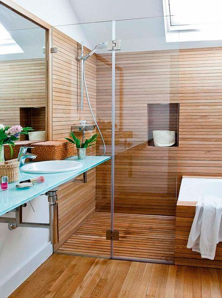 55 ideas de ba os geniales dise o de interiores for Diseno de banos con guardas verticales