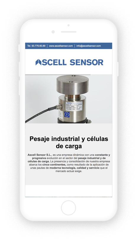 Diseño Responsive Design de Ascell Sensor